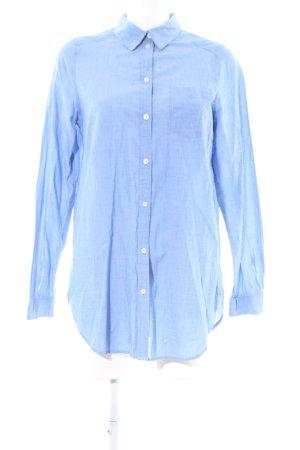H&M Langarm-Bluse blau Webmuster Business-Look