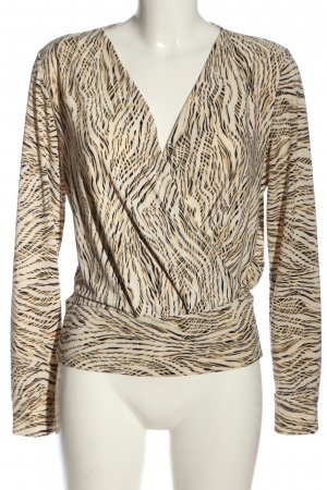 H&M Langarm-Bluse creme-weiß abstraktes Muster Casual-Look