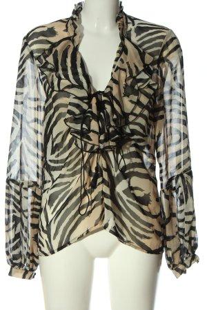 H&M Langarm-Bluse creme-schwarz Allover-Druck Casual-Look