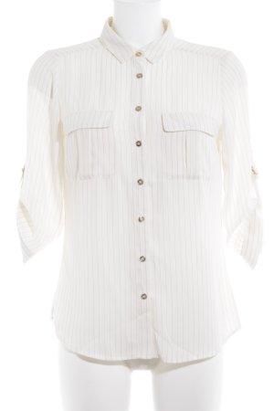 H&M Langarm-Bluse creme-schwarz schlichter Stil