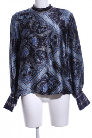 H&M Langarm-Bluse blau-wollweiß abstraktes Muster Casual-Look