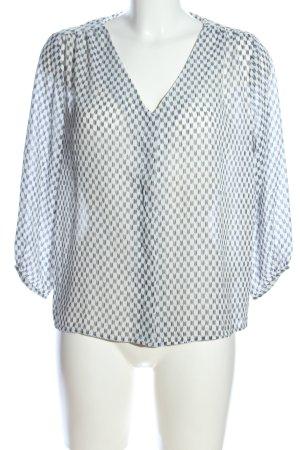 H&M Langarm-Bluse weiß-hellgrau Allover-Druck Business-Look