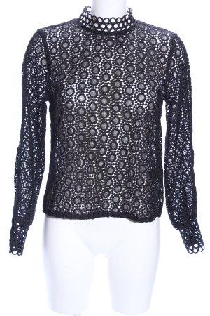 H&M Langarm-Bluse schwarz grafisches Muster Elegant