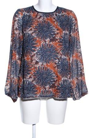 H&M Langarm-Bluse hellorange-blau Allover-Druck Casual-Look