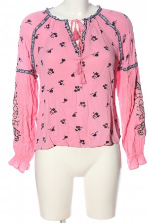 H&M Langarm-Bluse pink-schwarz Allover-Druck Casual-Look
