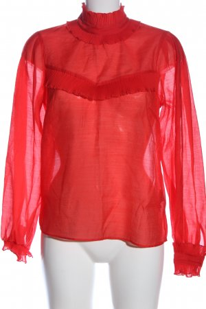 H&M Long Sleeve Blouse red polyester