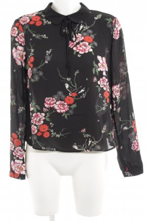 H&M Langarm-Bluse schwarz-rot Blumenmuster Business-Look
