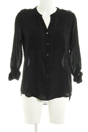 H&M Langarm-Bluse schwarz Transparenz-Optik