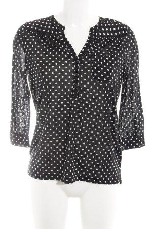 H&M Langarm-Bluse schwarz-weiß Punktemuster Casual-Look