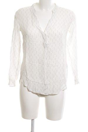 H&M Langarm-Bluse weiß grafisches Muster Elegant