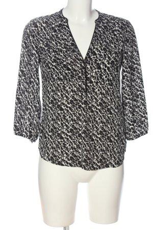 H&M Langarm-Bluse weiß-schwarz abstraktes Muster Casual-Look