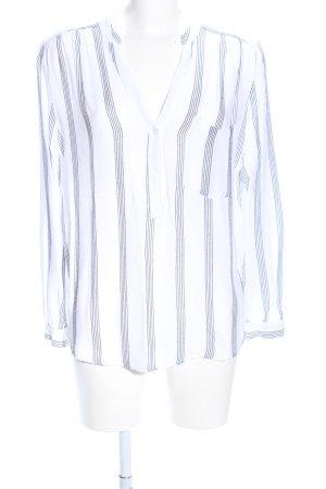 H&M Langarm-Bluse weiß-schwarz Streifenmuster Casual-Look