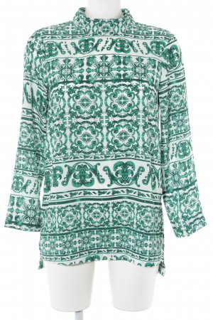 H&M Langarm-Bluse wollweiß-waldgrün Mustermix Elegant