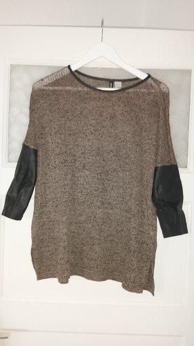 HM Skórzana bluzka czarny-szaro-brązowy