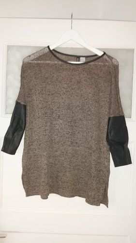 HM Leather Blouse black-grey brown