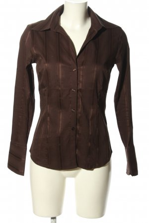 H&M Camicia a maniche lunghe marrone motivo a righe stile casual