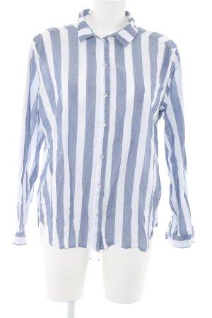 H&M Langarmhemd blau-weiß Streifenmuster Casual-Look