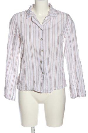 H&M Langarmhemd weiß-braun Streifenmuster Casual-Look