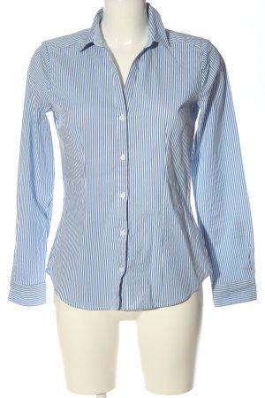 H&M Langarmhemd weiß-blau Streifenmuster Casual-Look