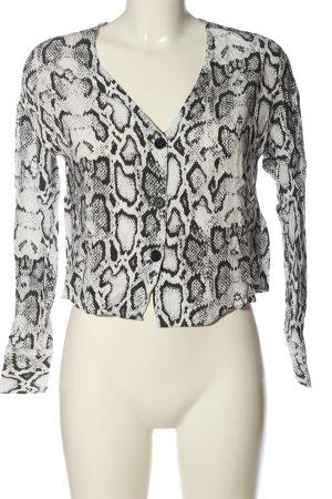 H&M Langarmhemd schwarz-weiß Animalmuster Casual-Look