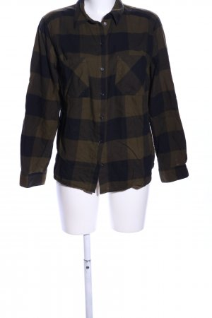 H&M Langarmhemd khaki-schwarz Allover-Druck Business-Look