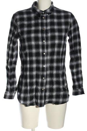 H&M Langarmhemd schwarz-weiß Karomuster Business-Look