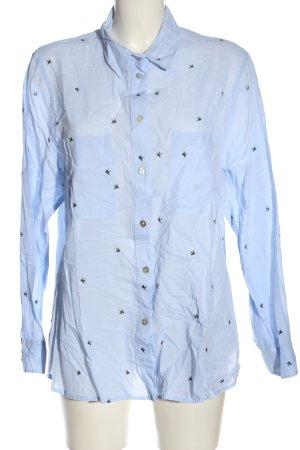 H&M Langarmhemd blau-schwarz Allover-Druck Business-Look