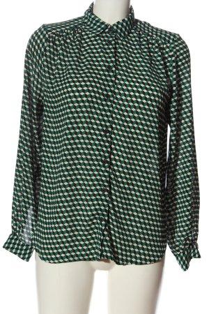 H&M Langarmhemd grün-creme Allover-Druck Business-Look