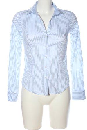 H&M Langarmhemd weiß-blau Streifenmuster Elegant