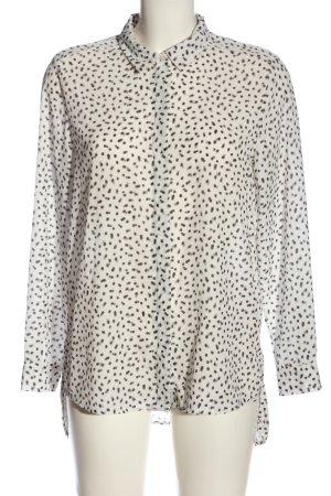 H&M Langarmhemd weiß-schwarz abstraktes Muster Casual-Look