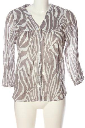 H&M Langarmhemd braun-wollweiß abstraktes Muster Casual-Look
