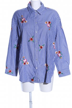 H&M Camisa de manga larga azul-blanco estampado a rayas look casual