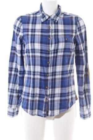 H&M Langarmhemd blau-weiß Karomuster Casual-Look