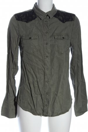 H&M Langarmhemd khaki-schwarz Casual-Look