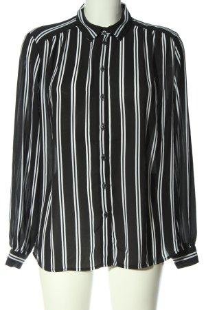 H&M Langarmhemd schwarz Streifenmuster Business-Look