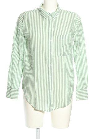 H&M Langarmhemd grün-weiß Streifenmuster Business-Look