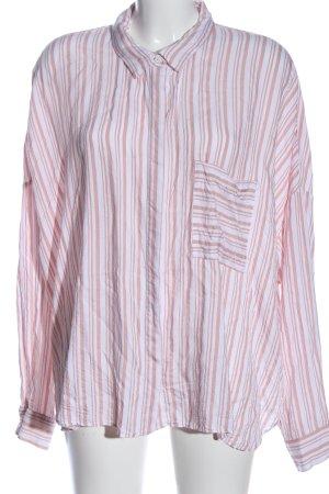 H&M Langarmhemd weiß-pink Streifenmuster Casual-Look
