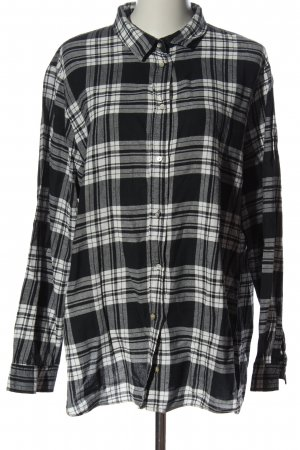 H&M Langarmhemd schwarz-weiß Karomuster Casual-Look