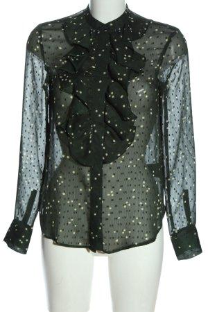 H&M Langarmhemd khaki-weiß Allover-Druck Elegant