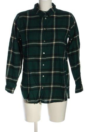 H&M Langarmhemd grün-wollweiß Allover-Druck Casual-Look