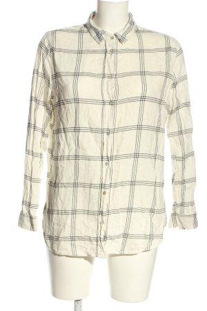 H&M Chemise à manches longues blanc-noir motif à carreaux style décontracté