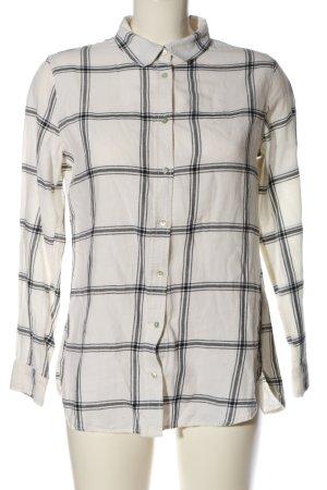 H&M Langarmhemd weiß-schwarz Allover-Druck Casual-Look