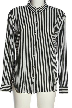 H&M Langarmhemd schwarz-weiß Streifenmuster Casual-Look
