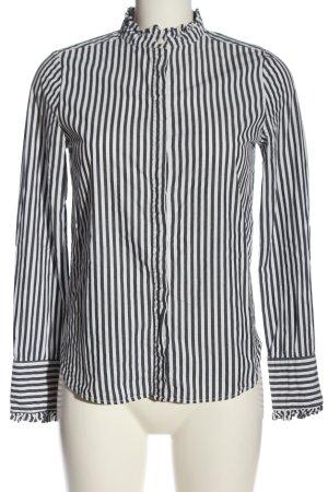 H&M Langarmhemd schwarz-weiß Streifenmuster Business-Look