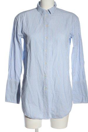 H&M Langarmhemd blau-weiß Allover-Druck Business-Look