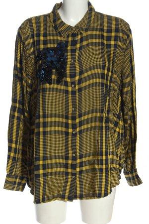 H&M Langarmhemd schwarz-blassgelb Karomuster Casual-Look