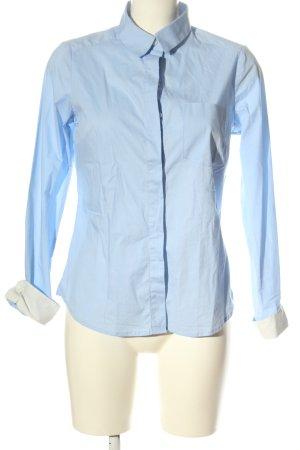 H&M Langarmhemd blau-weiß Business-Look