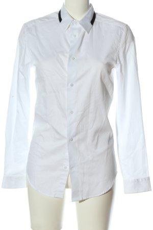 H&M Langarmhemd weiß-schwarz Business-Look