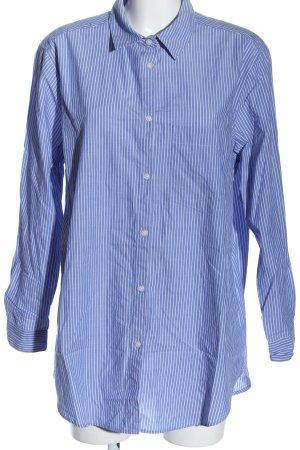 H&M Langarmhemd blau-weiß Allover-Druck Casual-Look