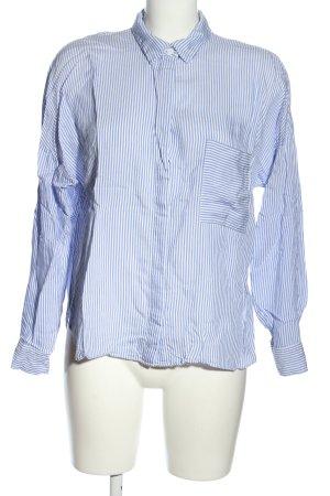 H&M Langarmhemd weiß-blau Streifenmuster Business-Look